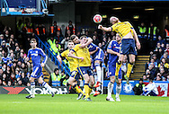 Scunthorpe clear a corner during the The FA Cup match between Chelsea and Scunthorpe United at Stamford Bridge, London, England on 10 January 2016. Photo by Ken Sparks.