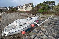 03/01/2014.   Boat smashed on beach in  An Spideal  Galway  destroyed by the storms . Photo:Andrew Downes.