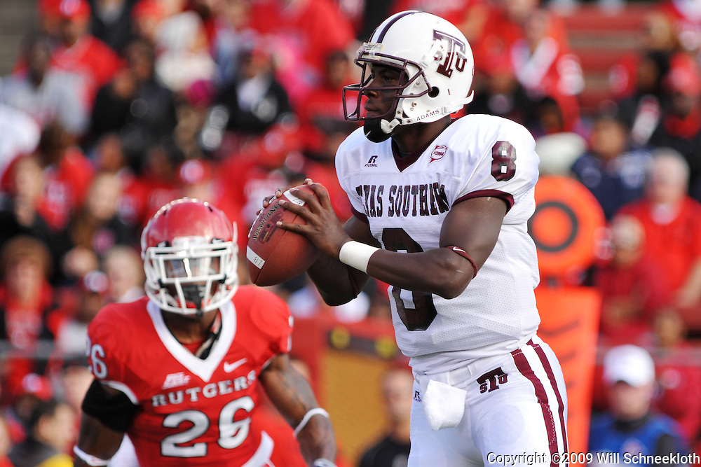 Oct 10, 2009; Piscataway, NJ, USA; Texas Southern quarterback Arvell Nelson (8) looks for an open receiver during first half NCAA college football action between Rutgers and Texas Southern at Rutgers Stadium.