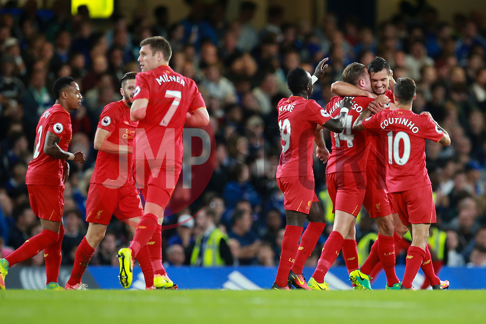 Goal, Jordan Henderson of Liverpool scores, Chelsea 0-2 Liverpool - Mandatory by-line: Jason Brown/JMP - 16/09/2016 - FOOTBALL - Stamford Bridge - London, England - Chelsea v Liverpool - Premier League
