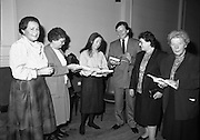 """These Obstreperous Lassies"" Book Launch.  (R93)..1988..15.12.1988..12.15.1988..15th December 1988..A book which chronicles an important aspect of Irish social history was launched in Larkin Hall. ""These Obstreperous Lassies"" written and researched by Mary Jones, details the seventy three years of the Irish Women Workers Union and of the women who were involved in the union..With Countess Markievicz as its first president, The Union began the fight for equal pay and fair treatment under the leadership of women like helen Chenevix, Louise Bennett and Helena Molloy. They fought for the rights of vulnerable workers such as Laundresses,print workers,box makers,nurses and dressmakers..The Author, Mary Jones, is a full time researcher specialising in Women and Work...Picture shows the Author Mary Jones autographing copies of her book ""These Obstreperous Lassies""at its launch."