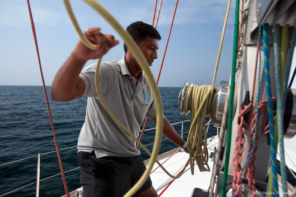 Lieutenant Commander Abhilash Tomy aboard the 56 foot Mhadei. This ex-recon pilot sailed 40,000km around the world non-stop and alone. He is the 1st Indian and about the 80th person in the world to have accomplished this.<br /> Before his departure from Mumbai, the boat had to be brought from Goa. I travelled with him on this journey.