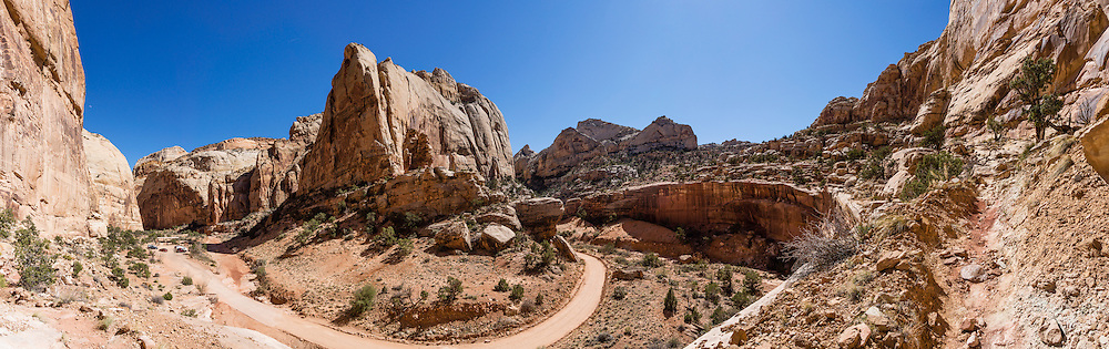 Capitol Gorge, Golden Throne Trailhead, Capitol Reef National Park, Utah, USA. Capitol Gorge was the original route for travelers through Waterpocket Fold before State Route 24 cut along Fremont River. This panorama was stitched from 10 overlapping photos.