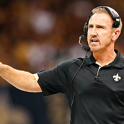 August 17, 2012; New Orleans, LA, USA; New Orleans Saints defensive coordinator Steve Spagnuolo during the first half of a preseason game against the Jacksonville Jaguars at the Mercedes-Benz Superdome. Mandatory Credit: Derick E. Hingle-US PRESSWIRE