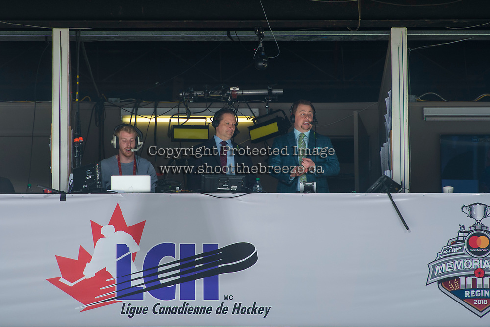 REGINA, SK - MAY 25: Sportsnet broadcasters Sam Cosentino and RJ Broadhead stand above the ice during the semi-final between Regina Pats and Hamilton Bulldogs at the Brandt Centre on May 25, 2018 in Regina, Canada. (Photo by Marissa Baecker/CHL Images)