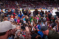 KELOWNA, CANADA - OCTOBER 28: Children enter the ice for the annual London Drugs Hershey candy scramble on October 28, 2017 at Prospera Place in Kelowna, British Columbia, Canada.  (Photo by Marissa Baecker/Shoot the Breeze)  *** Local Caption ***
