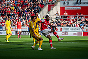 Olayinka Fredrick Oladotun Ladapo of Rotherham United scores to make it 2-1 to Rotherham during the EFL Sky Bet League 1 match between Rotherham United and Bolton Wanderers at the AESSEAL New York Stadium, Rotherham, England on 14 September 2019.