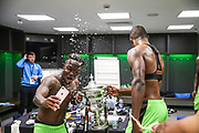Forest Green Rovers Drissa Traoré(4) gets squirted with champagne during the Vanarama National League Play Off Final match between Tranmere Rovers and Forest Green Rovers at Wembley Stadium, London, England on 14 May 2017. Photo by Shane Healey.