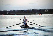 Eton, GREAT BRITAIN,  Anna WATKINS, W1X, rows away from the Start, GB Trials 3rd Winter assessment at,  Eton Rowing Centre, venue for the 2012 Olympic Rowing Regatta, Trials cut short due to weather conditions forecast for the second day Sunday  13/02/2011   [Photo, Karon Phillips/Intersport-images]