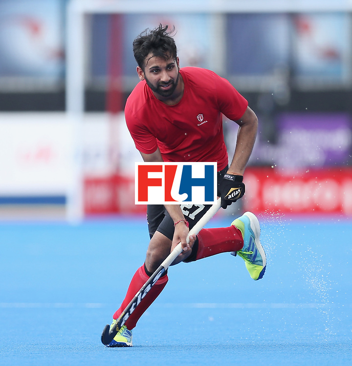 LONDON, ENGLAND - JUNE 17:  Sukhi Panesar of Canada during the Hero Hockey World League semi final match between Canada and India at Lee Valley Hockey and Tennis Centre on June 17, 2017 in London, England.  (Photo by Alex Morton/Getty Images)