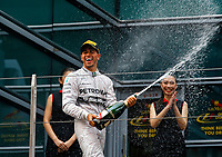 HAMILTON Lewis (Gbr) Mercedes Gp Mgp W05 ambiance portrait podium  celebrating his win after the 2014 Formula One World Championship, Grand Prix of China on April 20, 2014 in Shanghaï, China. Photo Frédéric Le Floc'h / DPPI