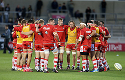 Gloucester Rugby huddle before the match - Mandatory by-line: Matt McNulty/JMP - 16/09/2016 - RUGBY - Heywood Road Stadium - Sale, England - Sale Sharks v Gloucester Rugby - Aviva Premiership
