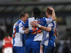 Bristol Rovers' John-Joe OToole celebrates with his team mates after scoring. - Photo mandatory by-line: Dougie Allward/JMP - Tel: Mobile: 07966 386802 14/12/2013 - SPORT - Football - Morecombe - Globe Arena - Morecombe v Bristol Rovers - Sky Bet League Two
