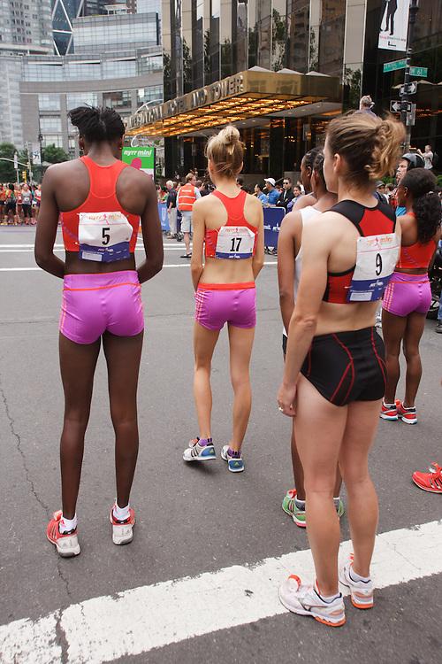 NYRR Mini 10K road race (40th year); elite runners before start