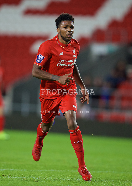 ST HELENS, ENGLAND - Monday, September 28, 2015: Liverpool's Jerome Sinclair in action against Leicester City during the Under 21 FA Premier League match at Langtree Park. (Pic by David Rawcliffe/Propaganda)
