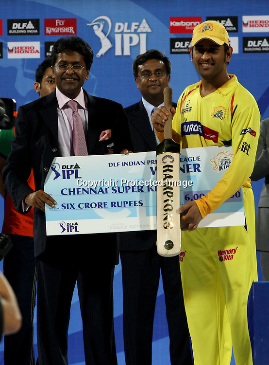 MS Dhoni receives the prize, Indian Premier League twenty20 cricket final, Mumbai Indians v Chennai Super Kings, 26 April 2010.
