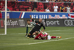 August 5, 2018 - Harrison, New Jersey, United States - Daniel Royer (77) of Red Bulls scores goal during regular MLS game against LAFC at Red Bull Arena Red Bulls won 2 - 1  (Credit Image: © Lev Radin/Pacific Press via ZUMA Wire)