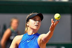 PARIS, June 4, 2017  Elina Svitolina of Ukraine serves during the women's singles 3rd round match against Magda Linette of Poland at the French Open Tennis Tournament 2017 in Paris, France on June 4, 2017. (Credit Image: © Chen Yichen/Xinhua via ZUMA Wire)