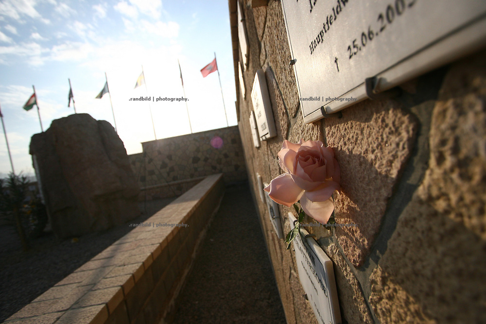 A memorial for soldiers died during their duty in northern Afghanistan. Camp Marmal, Mazar-e Sharif
