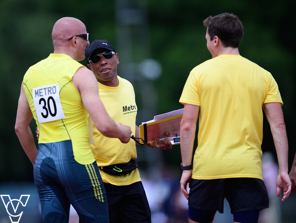 Metro Blind Sport's 2017 Athletics Open held at Mile End Stadium.  100m  Amir Kamali-Sarvestani with volunteer<br /> <br /> Picture: Chris Vaughan Photography for Metro Blind Sport<br /> Date: June 17, 2017