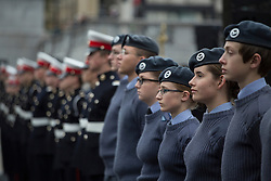 © licensed to London News Pictures. London, UK 21/10/2012. Cadets waiting for oders at Sea Cadets annual Trafalgar Day Parade in Trafalgar Square, London. Photo credit: Tolga Akmen/LNP
