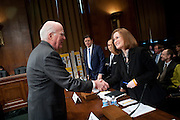 """Feb 16, 2011 - Washington, District of Columbia, U.S. - Senator PATRICK LEAHY (D-VT) greets Christine Jones, general counsel and corporate secretary of The Go Daddy Group Inc. before a Senate Judiciary Committee hearing on """"Targeting Websites Dedicated To Stealing American Intellectual Property."""" (Credit Image: © Pete Marovich/ZUMA Press)"""