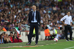 August 13, 2017 - Barcelona, Spain - Head coach Zinedine Zidane of Real Madrid during the Spanish Super Cup football match between FC Barcelona and Real Madrid on August 13, 2017 at Camp Nou stadium in Barcelona, Spain. (Credit Image: © Manuel Blondeau via ZUMA Wire)