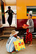 People at Yangon's Central train station