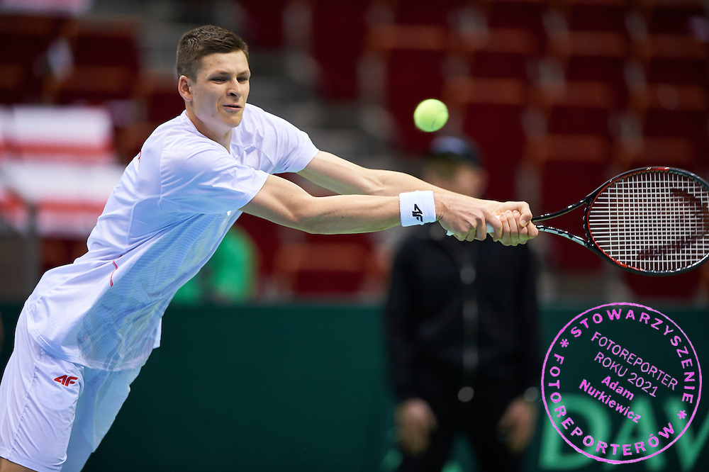 GDANSK, POLAND - 2016 MARCH 06: Hubert Hurkacz of Poland competes at men's singles during the Davis Cup / World Group 1st round tennis match between Poland and Argentina at Ergo Arena on March 6, 2016 in Gdansk, Poland<br /> <br /> Picture also available in RAW (NEF) or TIFF format on special request.<br /> <br /> Any editorial, commercial or promotional use requires written permission.<br /> <br /> Mandatory credit:<br /> Photo by &copy; Adam Nurkiewicz / Mediasport