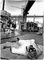 Sellafield, Cumbria. An emergency exercise set by the Nuclear Installations Inspectorate. During the exercise a process operator breaks his leg. This 'mock' accident is to test both the ambulance, medical teams and the fire brigade.