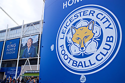 LEICESTER, ENGLAND - Saturday, November 10, 2018: An image of Leicester City's chairman Vichai Srivaddhanaprabha, who died in a helicopter crash on Oct 27, outside the King Power Stadium before the FA Premier League match between Leicester City FC and Burnley FC. (Pic by David Rawcliffe/Propaganda)