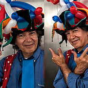 Diptych portraits of &quot;The Balloon Guy&quot; at the Bastille Day celebration in New York City.<br />
