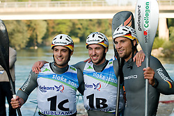 Winning team Germany (Alexander Grimm, Fabian Doerfler and Hannes Aigner) in the Men's Kayak K-1 Teams at ICF Canoe Slalom World Championships - Sloka 2010 on September 12, 2010 in Tacen, Ljubljana, Slovenia (Photo by Matic Klansek Velej / Sportida)