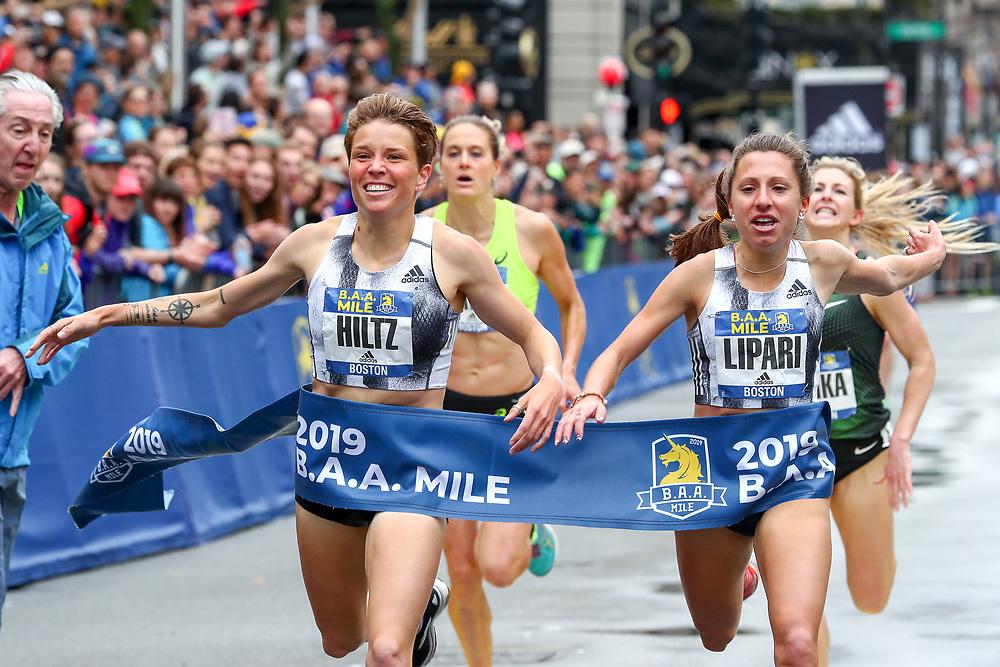 Nikki Hiltz, adidas, nips Emily Lipari to win  BAA Mile in 4:40.1