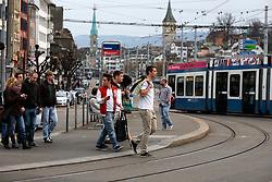 SWITZERLAND ZURICH 3MAR12 - Zurich central tram and bus station in Zurich city centre, Switzerland. ....jre/Photo by Jiri Rezac....© Jiri Rezac 2012