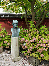 Bust in The Von Siebold Memorial Garden in Hortus Botanicus  in Leiden The Netherlands