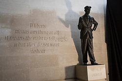 "© Licensed to London News Pictures. 07/11/2017. London, UK.  A statue of author George Orwell is unveiled outside the BBC headquarters in Portland Place.  Accompanying the statue is an inscription which reads ""If liberty means anything at all it means the right to tell people what they do not want to hear"".  Photo credit: Stephen Chung/LNP"