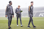 Cambridge United players inspect the pitch on arrival during the EFL Sky Bet League 2 match between Forest Green Rovers and Cambridge United at the New Lawn, Forest Green, United Kingdom on 20 January 2018. Photo by Shane Healey.