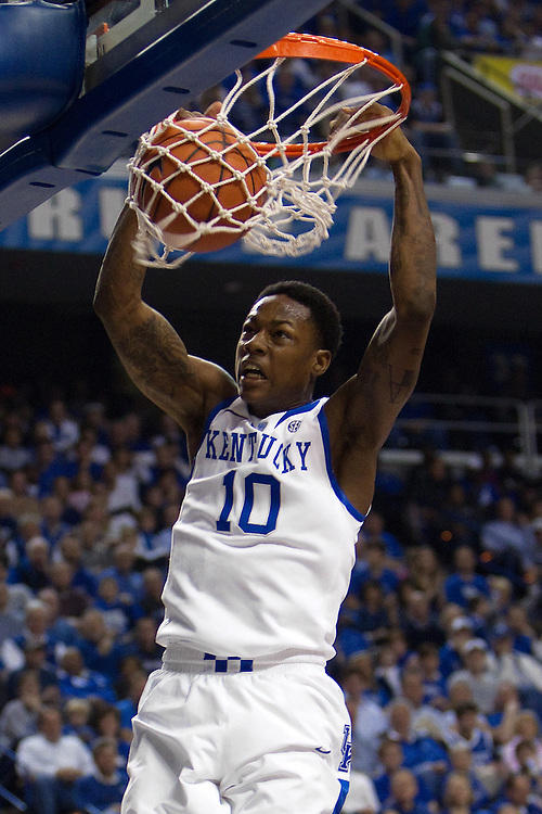 UK guard Archie Goodwin slams down two in the first half. The University of Kentucky Men's Basketball team hosted Texas A&M , Saturday, Jan. 12, 2013 at Rupp Arena in Lexington . Photo by Jonathan Palmer/Special to the Courier-Journal.