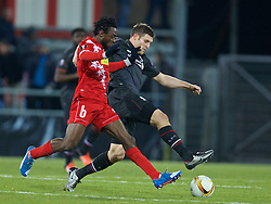 LIVERPOOL, ENGLAND - Thursday, December 10, 2015: Liverpool's James Milner in action against FC Sion's captain Xavier Kouassi during the UEFA Europa League Group Stage Group B match at Stade de Tourbillon. (Pic by David Rawcliffe/Propaganda)