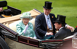 Queen Elizabeth II and Prince Andrew, Duke of York arrive during day five of Royal Ascot at Ascot Racecourse.