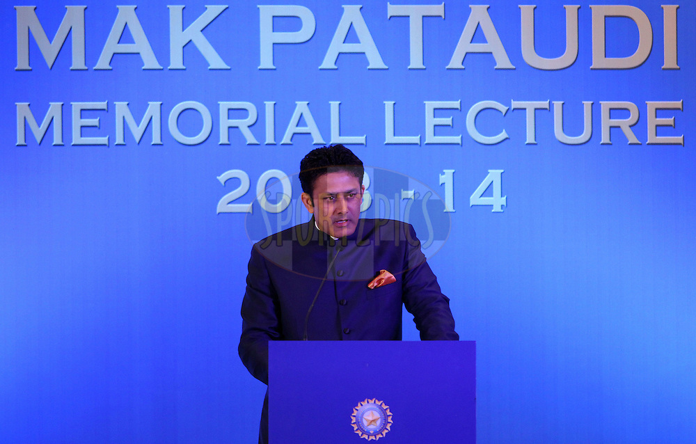 Anil Kumble during the 2nd Mansoor Ali Khan Pataudi Memorial Lecture held at the Taj Palace Hotel in Mumbai, India on the 13th November 2013<br /> <br /> Photo by: Ron Gaunt - BCCI - SPORTZPICS
