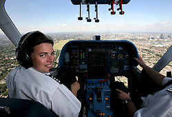 UK ENGLAND LONDON 22JUL08 - Zeppelin pilot Katherine Board (33) at the controls of the 'Star over London' zeppelin over central London. ..jre/Photo by Jiri Rezac..© Jiri Rezac 2008..Contact: +44 (0) 7050 110 417.Mobile:  +44 (0) 7801 337 683.Office:  +44 (0) 20 8968 9635..Email:   jiri@jirirezac.com.Web:    www.jirirezac.com..© All images Jiri Rezac 2008 - All rights reserved.