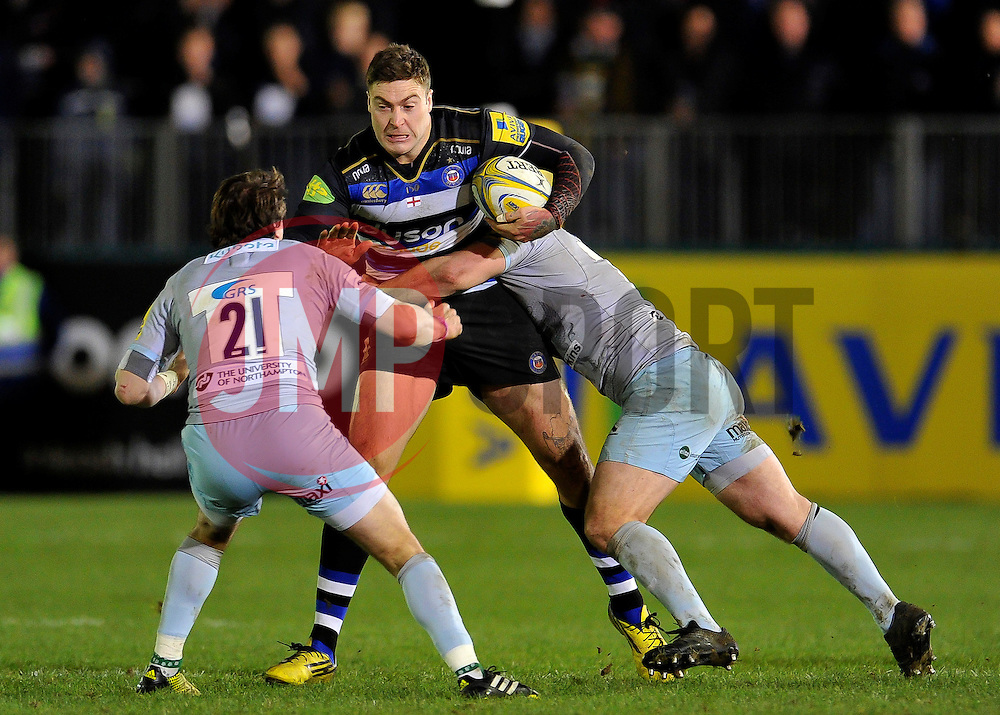 Matt Banahan of Bath Rugby takes on the Northampton defence - Mandatory byline: Patrick Khachfe/JMP - 07966 386802 - 05/12/2015 - RUGBY UNION - The Recreation Ground - Bath, England - Bath Rugby v Northampton Saints - Aviva Premiership.
