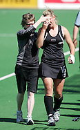 Clarissa ESHUIS leaves the field with a blood injury during the BDO Women's Champions Challenge 1 match between New Zealand and Japan held at the Hartleyvale Stadium in Cape Town, South Africa on the 17 October 2009 ..Photo by RG/www.sportzpics.net.+27 21 (0) 21 785 6814