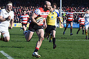 g14 Gloucester winger Charlie Sharples scores a try during the Aviva Premiership match between Gloucester Rugby and Wasps at the Kingsholm Stadium, Gloucester, United Kingdom on 24 February 2018. Picture by Alan Franklin.
