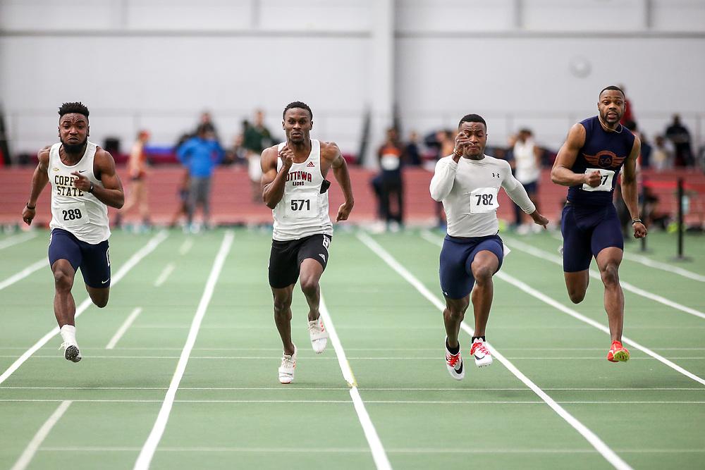 mens 60 meter final, Muteba, Ottawa, Sosoo, <br /> Boston University Scarlet and White<br /> Indoor Track & Field, Bruce LeHane