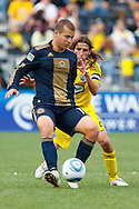 24 OCTOBER 2010:  Philadelphia Union forward Alejandro Moreno (15) is defended by Columbus Crew defender Frankie Hejduk (2) during MLS soccer game at Crew Stadium in Columbus, Ohio on August 28, 2010.