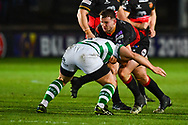 Dragons' Elliot Dee is tackled by Newcastle Falcons' Ben Sowrey<br /> <br /> Photographer Craig Thomas/Replay Images<br /> <br /> EPCR Champions Cup Round 4 - Newport Gwent Dragons v Newcastle Falcons - Friday 15th December 2017 - Rodney Parade - Newport<br /> <br /> World Copyright © 2017 Replay Images. All rights reserved. info@replayimages.co.uk - www.replayimages.co.uk