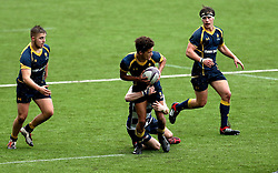 Dion King (King's Worcester) of Worcester Warriors U18 is tackled - Mandatory by-line: Robbie Stephenson/JMP - 29/01/2017 - RUGBY - Sixways Stadium - Worcester, England - Worcester Warriors U18 v Sale Sharks U18 - Premiership Rugby U18 Academy League